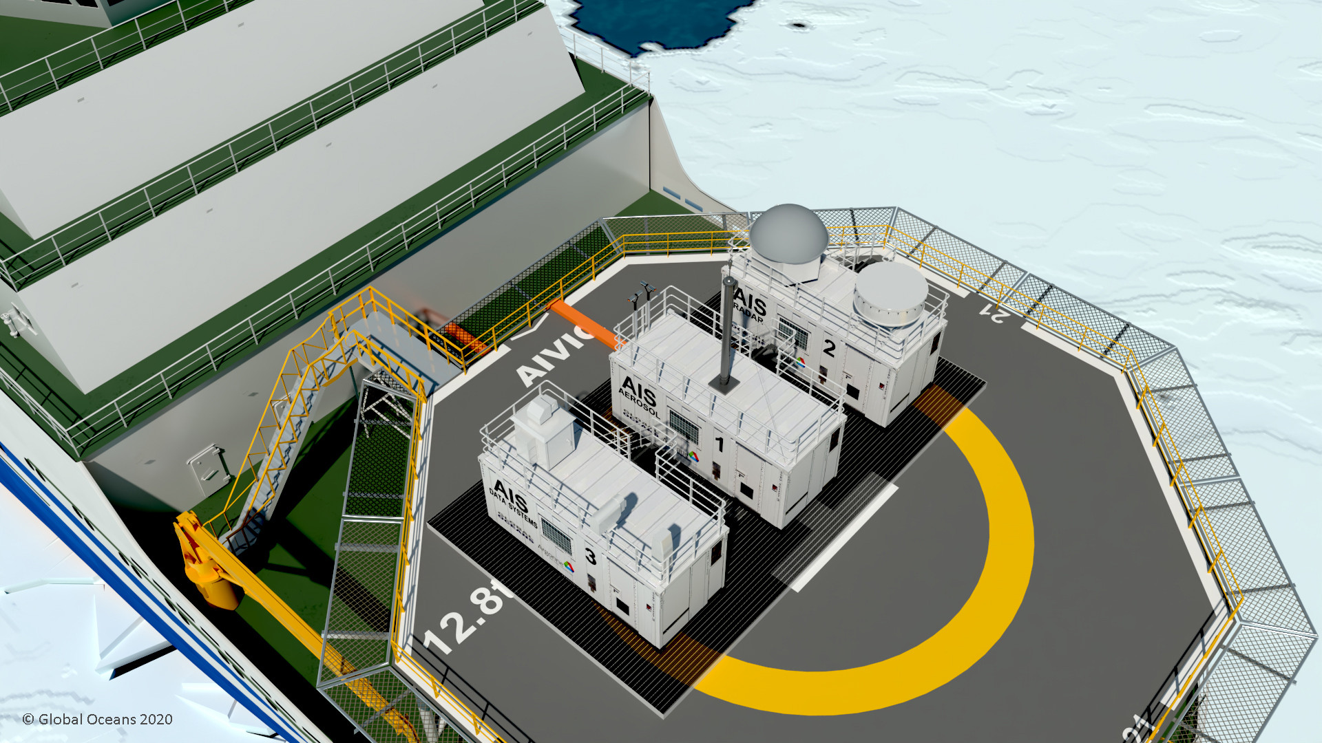 Figure 1: AIS Observatory deployed on the 110-meter Aiviq Icebreaker.