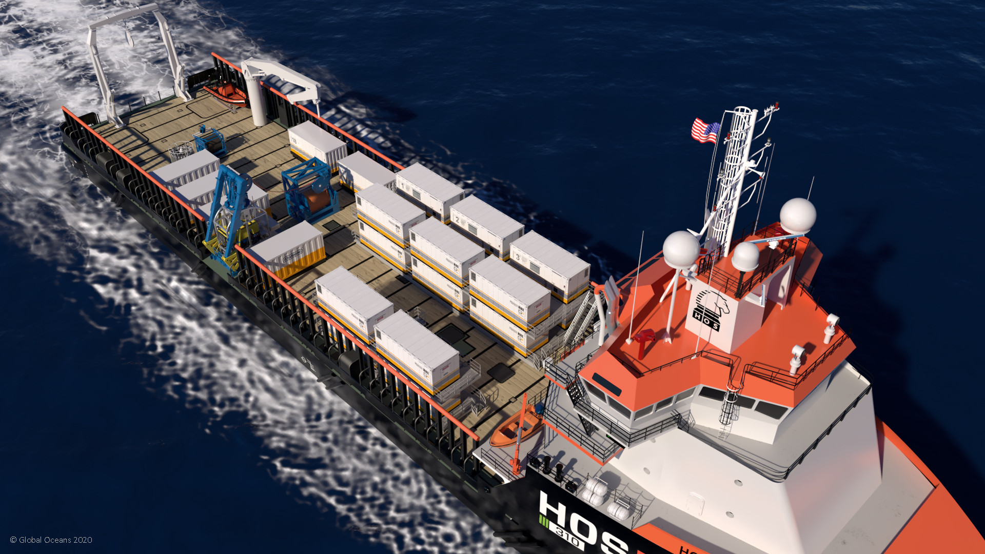 Figure 1: MARV configuration for the Global Seamounts Project on a Hornbeck HOS 310 Series offshore service vessel - Atlantic Ocean.