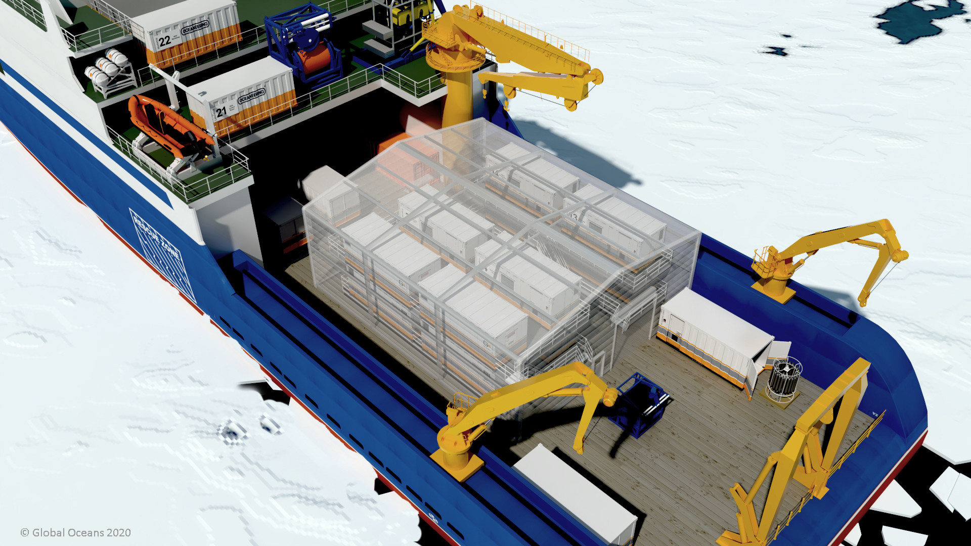 Figure 4: Global Oceans worked with Cocoon, Inc. to design a portable insulated shell for SASx workspace modules.