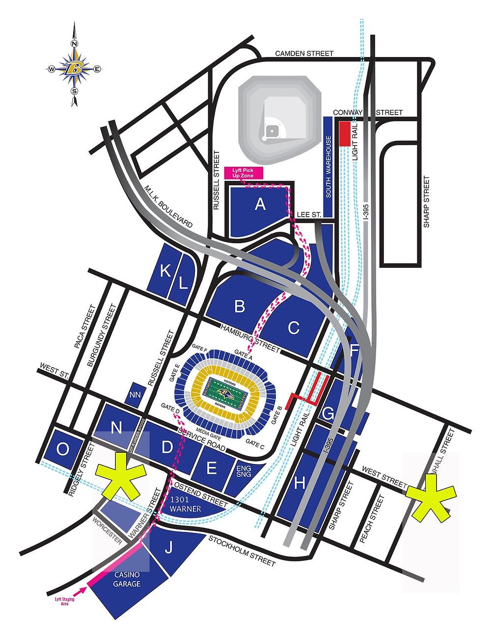 Tailgate Professional Parking Map M&T Bank Stadium