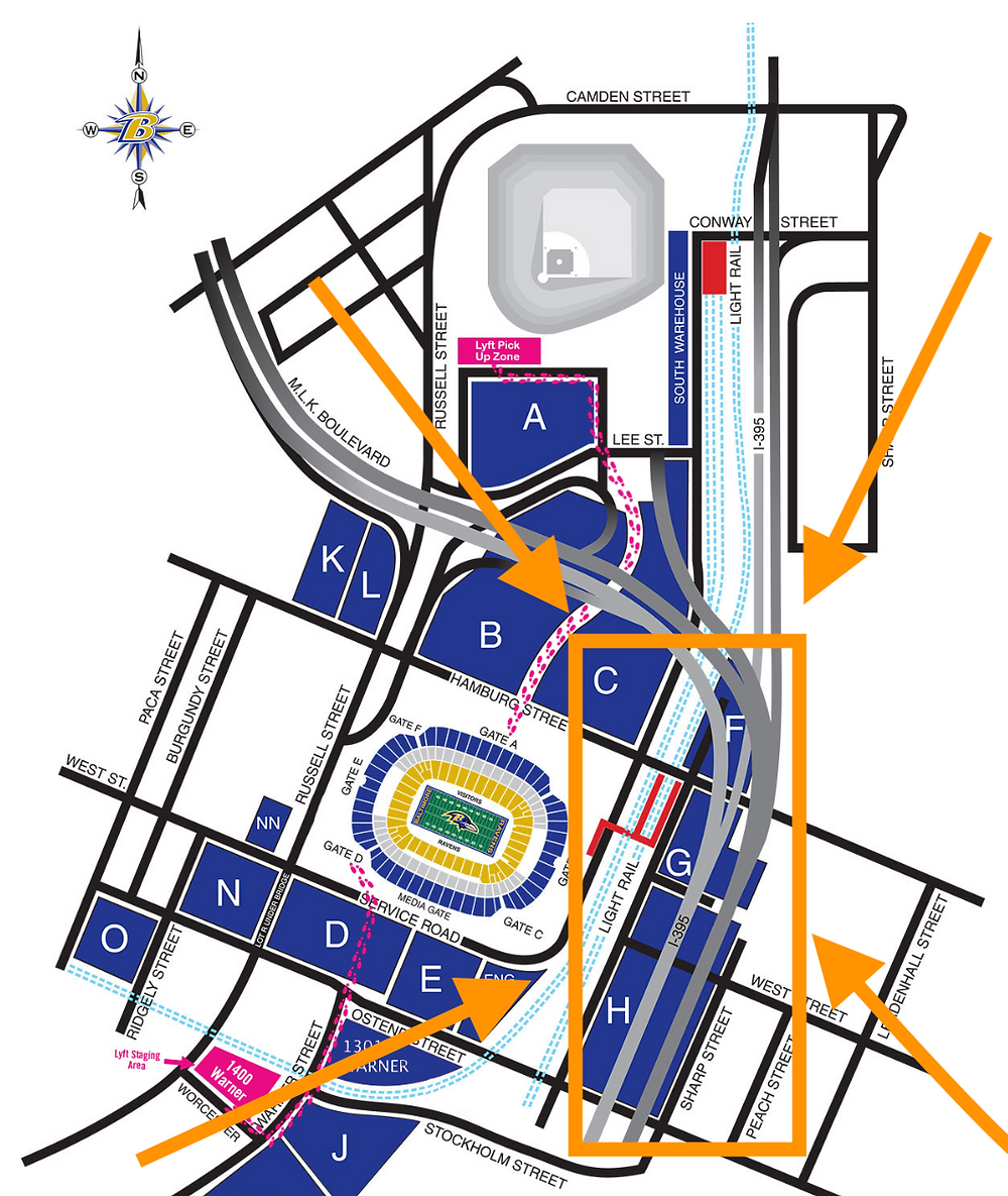 Tailgate Professional M&T Bank Parking Map
