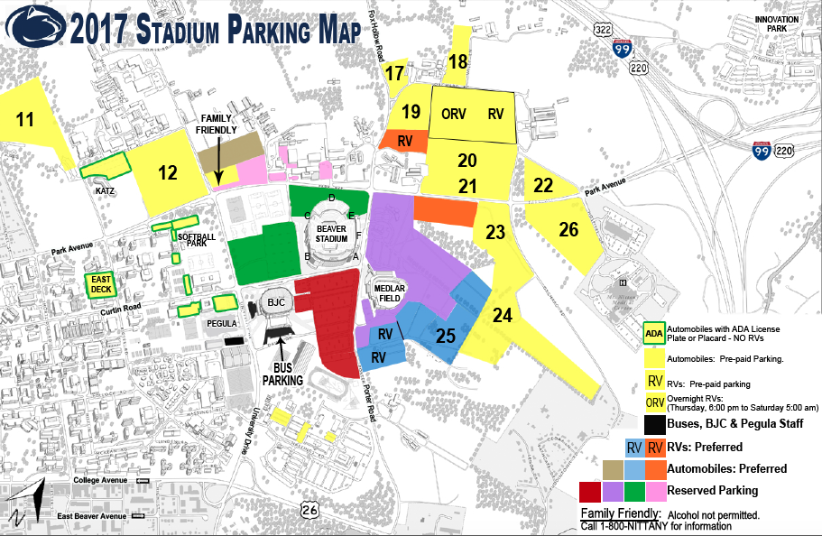 penn state parking map for tailgating with Tailgate Professional
