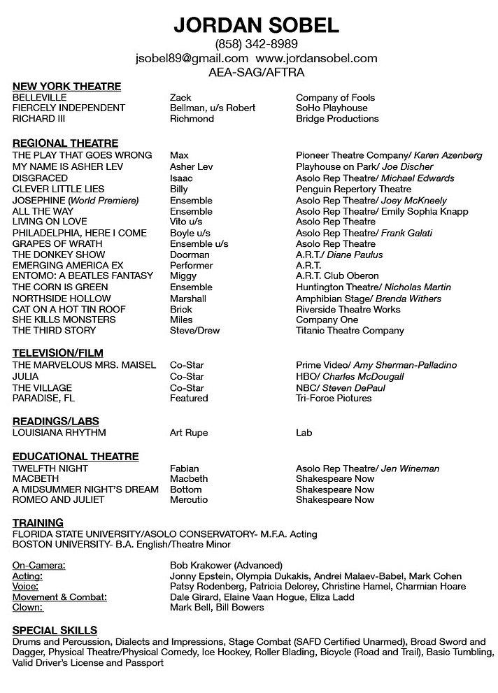 Jordan Sobel Updated Theatrical Resume10
