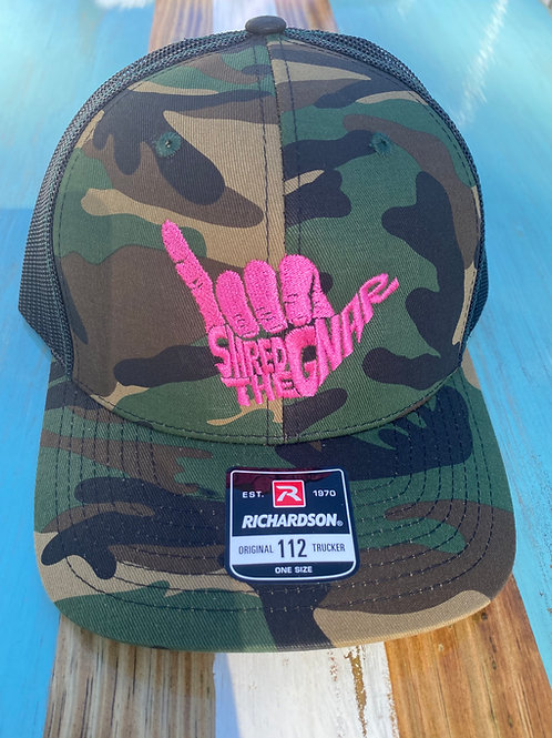 Shred The Gnar Hat - Pink Camo