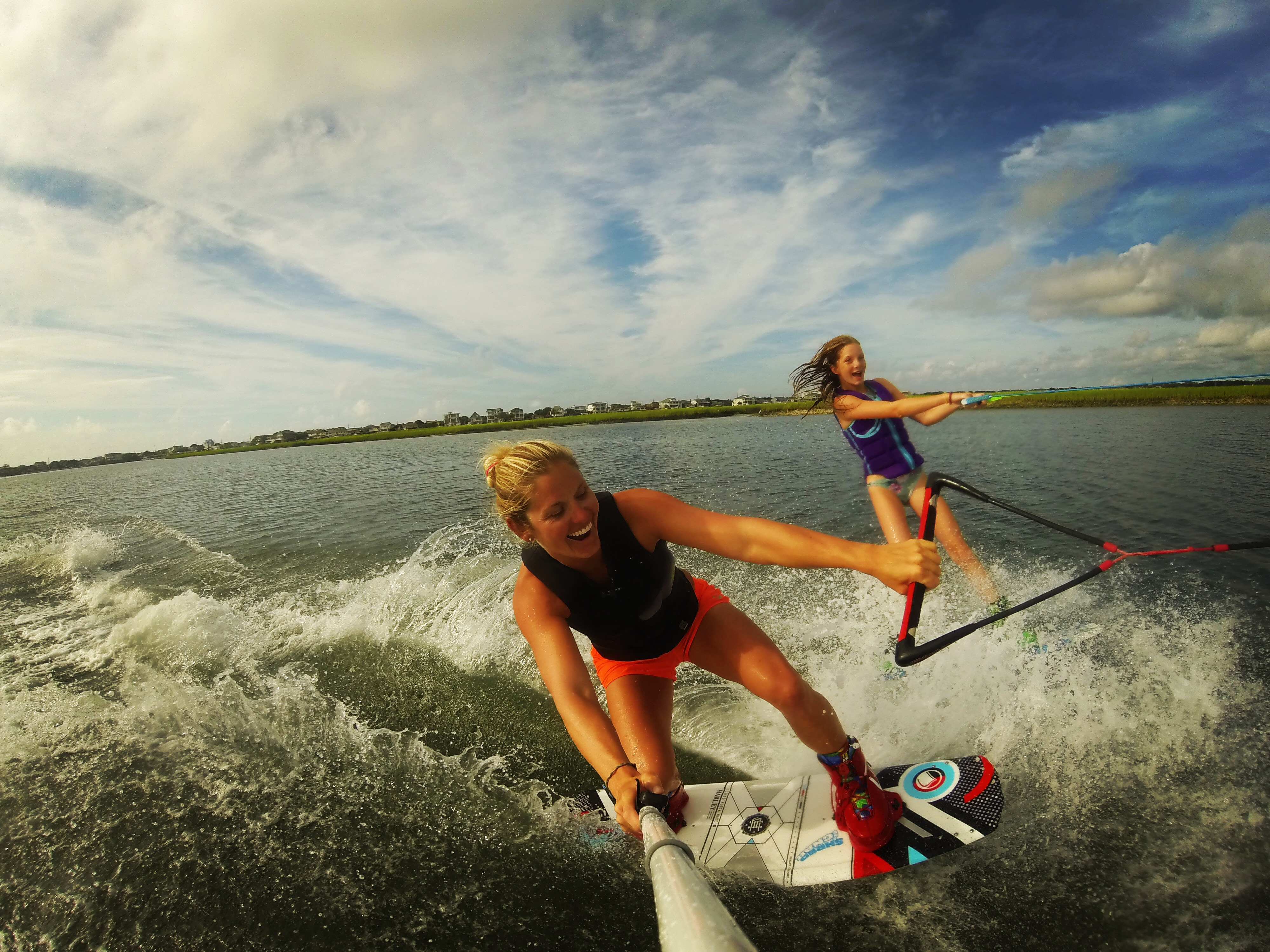 Kara riding doubles with Saylor