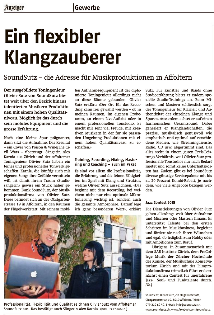 Zeitungsartikel SoundSutz in Affolter Anzeiger