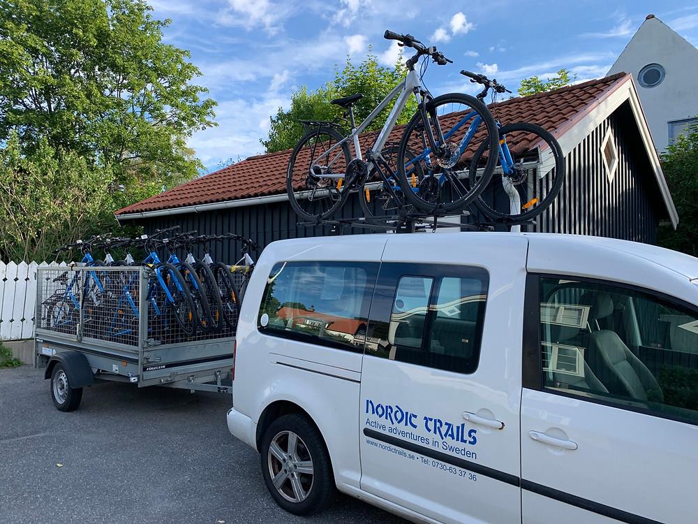 Cyklar redo för utflykt, Nordic Trails.