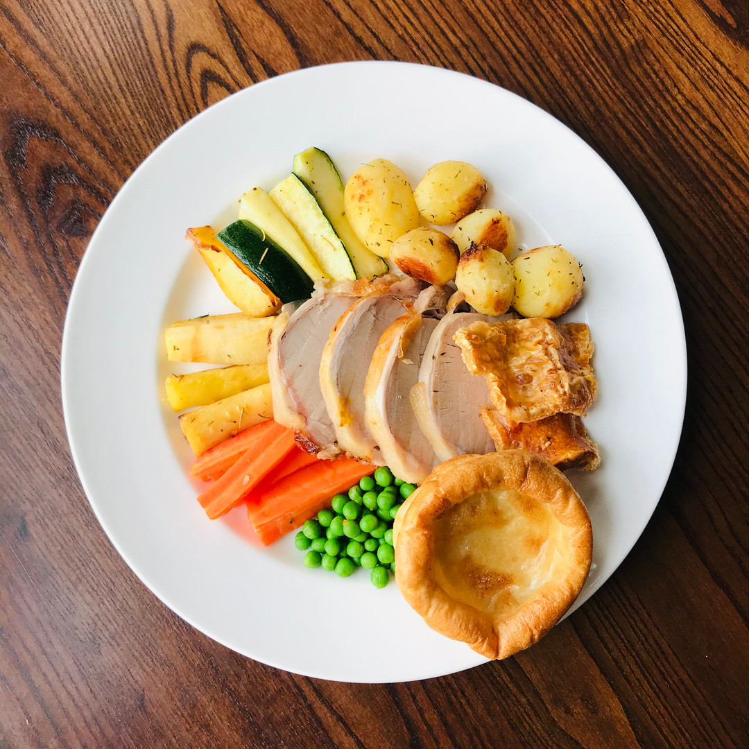 Beautiful Roast Pork with vegetables and