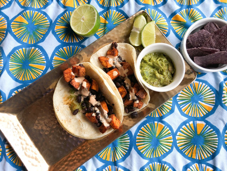 Sweet Potato & Black Bean Tacos with Chipotle Lime Crema