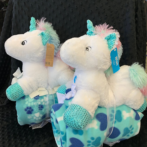 """Snuggle with your Pet -Toy (""""Unicorn"""") & Blanket -click for full assortment!"""