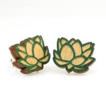 Wooden Lotus Stud Earring