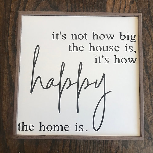 """10.5"""" x 10.5"""" Sign: Happy Home"""