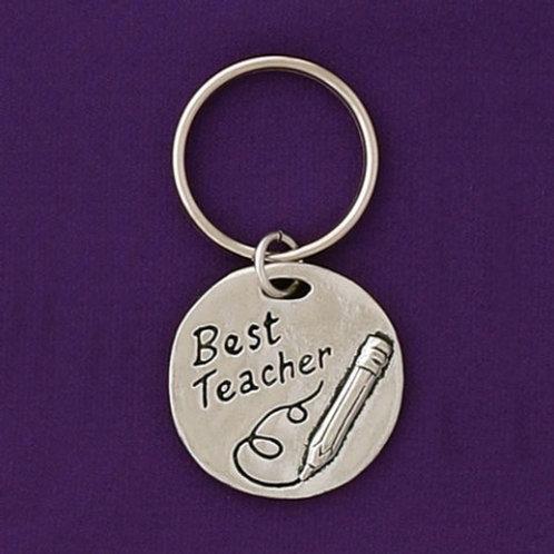 Best Teacher Pewter Keychain