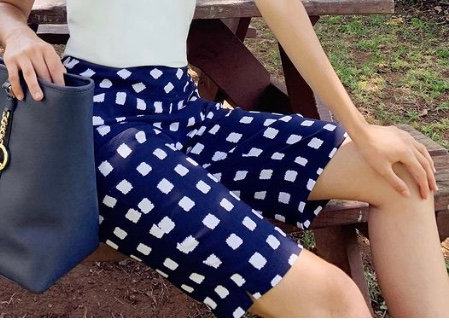 Navy White Cubes Shorts