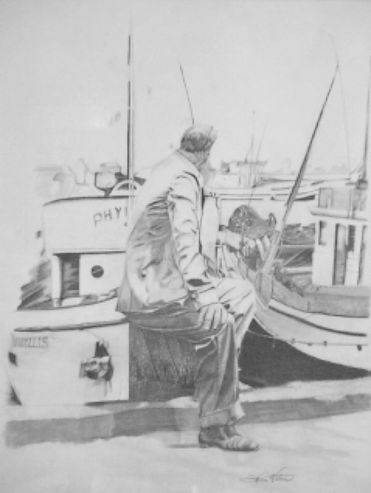 A Man Setting At The Docks