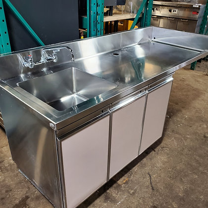 "79""x 30"" Stainless Steel Table with Sink"