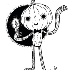 Pumpkin Guy with Candle