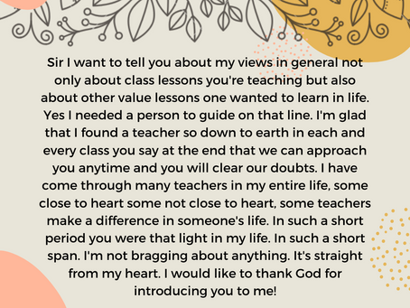 Teacher's Day 2020: Message from Course Director