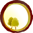 Logo de Diálogos en el Bosque. Dos arboles dentro de un circulo para representar como los grupos de personas pueden transformarse y entablar nuevas conexiones en la naturaleza.