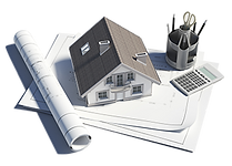 Image of house, plans, calculator and writing utensils