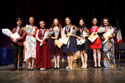 Prizewinners at the 2019 USA International Harp Competition Photo: James Brosher