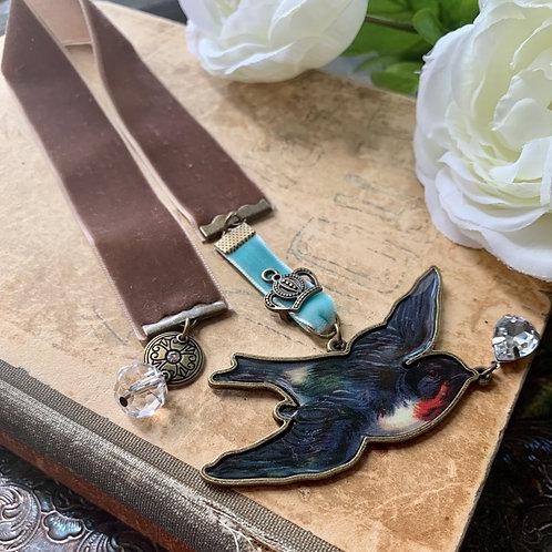 Velvet Bookmark - Cocoa Bird