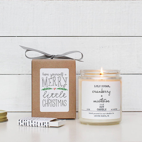 Cranberry and Mistletoe Soy Candle