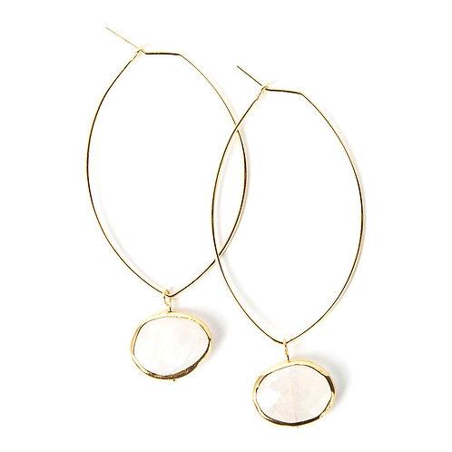 Ava Gemstone Earrings-Moonstone
