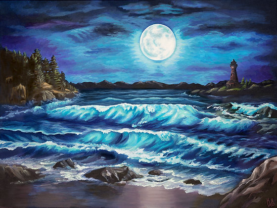 Moonlit Waves Stretched Canvas Giclee Print
