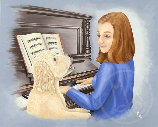The Voice Lesson Stretched Canvas Giclee Print