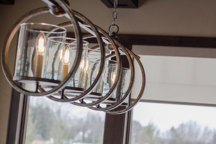 Transitional dining room, Graber motorized roller shades, Saloom table, Currey light fixture