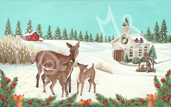 Peaceful Winter Scene Premium Matte Paper Giclee Print