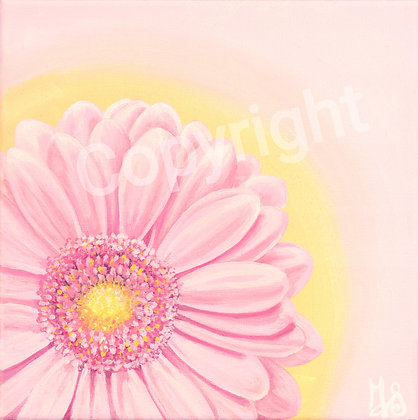 Pink Flower on Soft Yellow Stretched Canvas Giclee Print