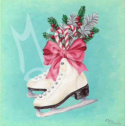Christmas Skates Stretched Canvas Giclee Print