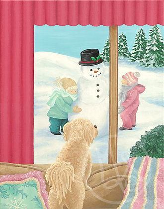 Winter Window Wishes Stretched Canvas Giclee Print