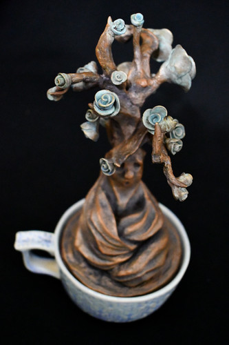 """""""Tired Ent in a Teacup"""" Bronze Sculpture"""