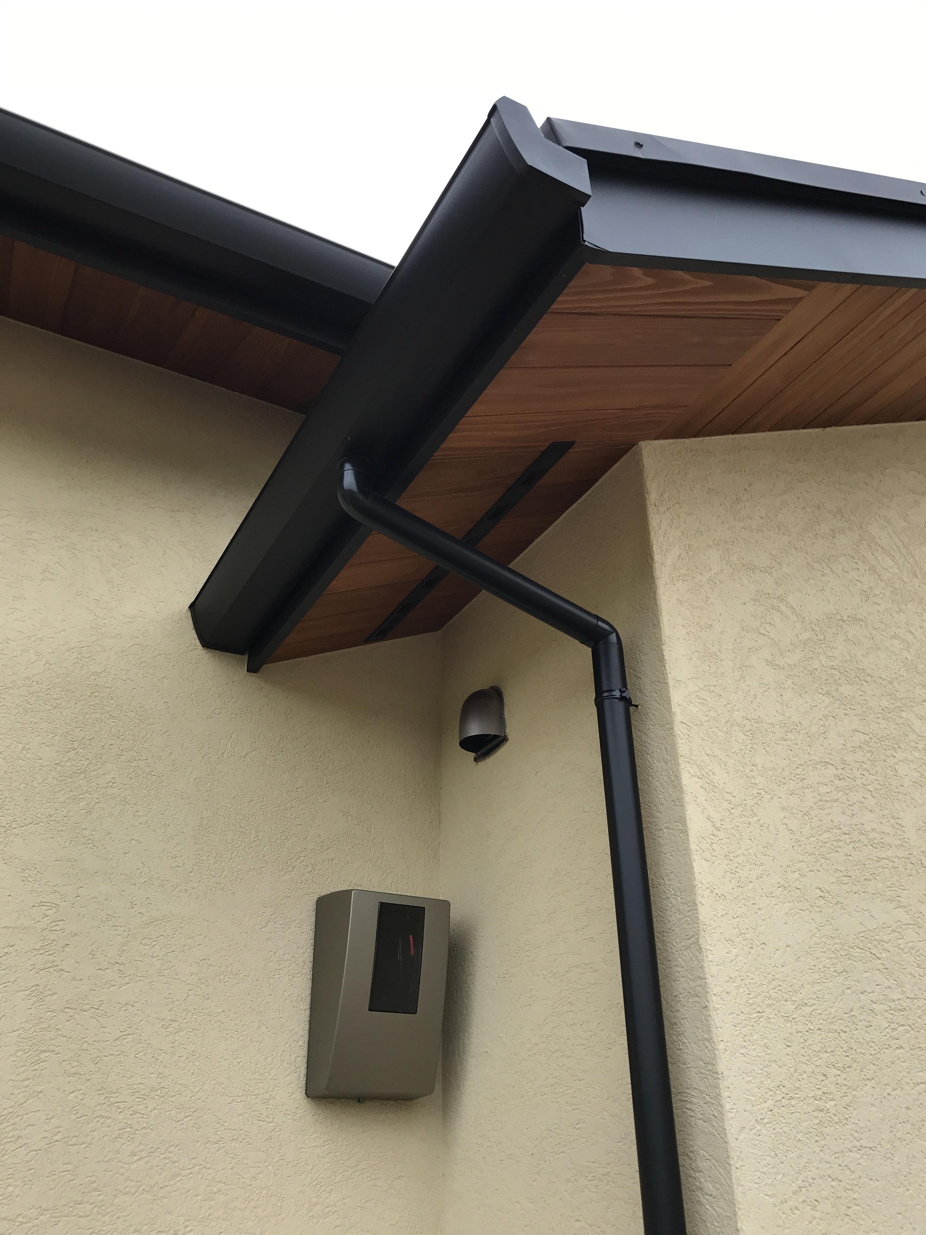電気メーターボックスと雨樋