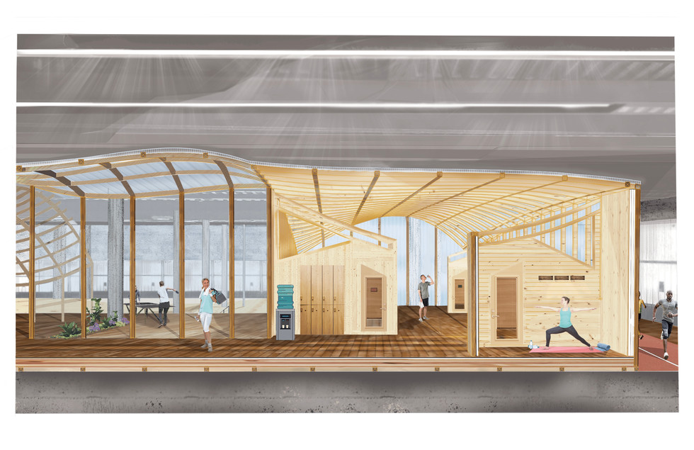 Section through yoga and meditation spaces