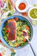 Salmon Bowls with Pesto Spaghetti Squash
