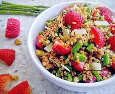 Grilled Strawberry and Asparagus Freekeh Salad