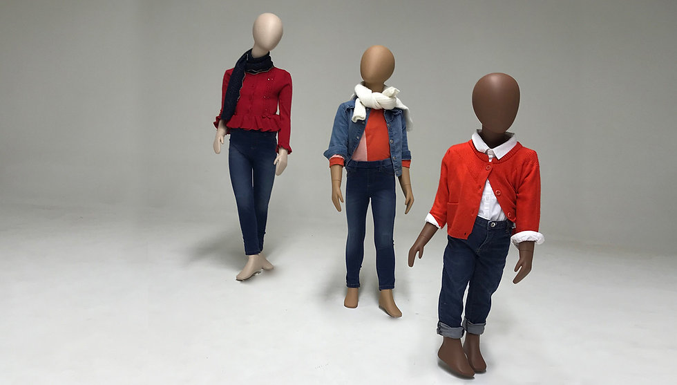 Children mannequins in different skin colours