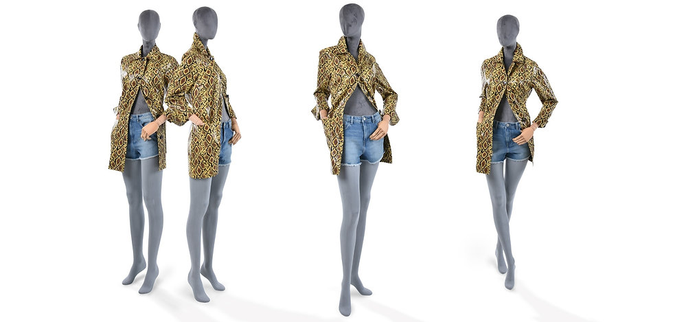 Sustainable mannequin covered with grey velvet