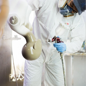 Spraying the mannequin