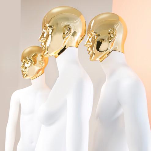 Bonami mannequins_Collectie Omnia_heren mannequin abstract met afneembaar gouden hoofd