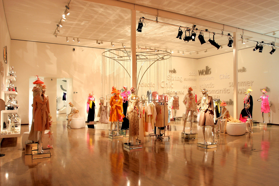 Exhibition of designers with mannequins