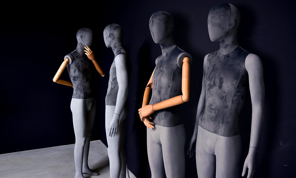 Sustainable male mannequin covered with grey velvet