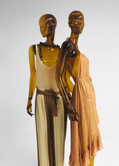 Female sustainable mannequin with clothes