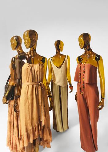 Présentoir de mannequin transparent jaune