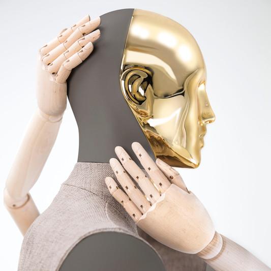 Bonami mannequins_Collection Simplicity_male mannequin with detachable golden head