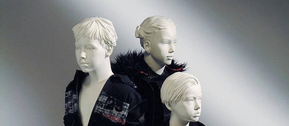 Children mannequins in white